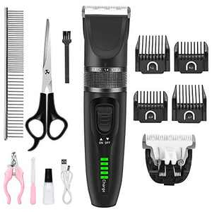 RegeMoudal Dog Clippers Professional Dog Grooming Kit Cordless Pet Grooming Clippers Quiet Dog Trimmer Rechargeable Pet Hair Clippers with 4 Comb Guides, 1 Nail Clippers for Thick Coats Dogs Cats Pets