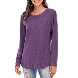 Women Short/Long Sleeve Tee Shirts Tunics Tops Comfy Casual Crew Neck Blouses Purple