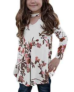 Ecokauer Girls Kids Cute T Shirts Floral Print 3/4 Sleeve Key Hole Front Tops Blouse Birthday Shirt Fashion Outfits Size 6 7 Cream