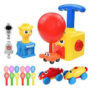 EKUPUZ Inertial Power Balloon Car, Children Inertia Balloon Car Toy, Power Balloon Powered Launch Car with 12 Balloons Educational Science DIY Toy for Children Gifts Games Children Boys Girls