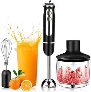 Immersion Blender,4-in-1 Hand Blender, 500 Watt 8-Speed,with 860 ml Food Processor Chopper,600 ml Mixing Beaker,Egg Whisk,for Soups, Infant Food, Smoothies, Sauces
