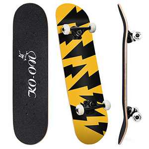 KO-ON Complete Skateboards for Beginners and Kids 31 inches x 7.88 inches, Standard 7-ply Layers Canadian Maple Wood with Double Kicktails and Radial Concave for Tricks (Electric Power)