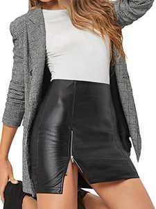 WDIRARA Women's Mid Waist Split Zip Back Elegant Leather Bodycon Mini Skirt Black Plain M
