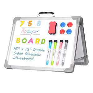 Aobopar Small Dry Erase White Board 16 x 12 inches, Magnetic Desktop Foldable Whiteboard Portable Mini Easel Double Sided on Table Top with Holder for Kids Drawing, Teacher Instruction, Memo Board