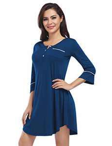 Coolmee Nightgowns Women's Button Down Nightgown Short Sleeve Nightshirt Pajama Top Boyfriend Sleepwear Loungewear Nightdress Teal L