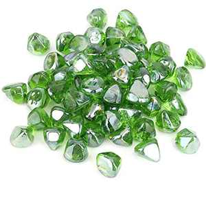 HouSou Green Fire Pit Glass,10 Pound Zircon Fire Glass High Luster,1 ½'' Reflective Tempered Fire Pit Glass,Fire Glass Rocks for Fireplaces and Propane Fire Pit.Jar Package