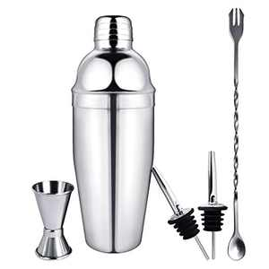 Cocktail Shaker Set 5 Piece, 25 OZ Stainless Steel Built-in Filter, Martini Shaker, Drink Shaker, Bartender Kit With Measuring Jigger, Mixing Spoon, 2 Liquor Pourers, Professional Bar Tools