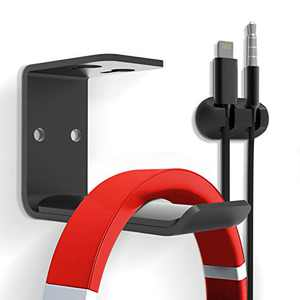 Headphones Hook Mount, 6amLifestyle Under Desk Space Saving Headset Holder Hanger Wall Mount Earphone Holder Display for Sony, Sennheiser, Beats, Audio-Technica, Bose, Shure, AKG Hook (2 Pack)