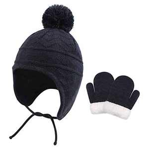 Baby Hat Winter Girl Beanie with Fleece Lined Top Pom Pom Earflap Warm Hat Fit for 1T-3T (Hat and Mitten Set, Navy Blue)