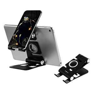 Cell Phone Stand, Hpory 3 in 1 Foldable Aluminum Phone Stand & Tablet Stand for Desktop Holder Cradle with Anti-Slip Base Compatible with All Android Phone/iPhone/iPad/iWatch/Tablet (4-12in) Black