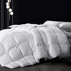 Down Comforter Full, White All Season Comforter, Goose Duck Down and Feather Filling, 100% Cotton Shell Duvet Insert, 82×86 Inch