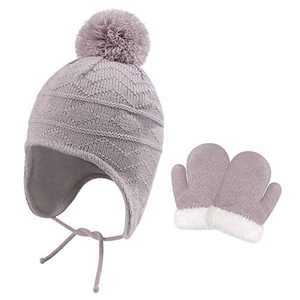 Baby Hat Winter Girl Beanie with Fleece Lined Top Pom Pom Earflap Warm Hat Fit for 1T-3T (Hat and Mitten Set, Grey)