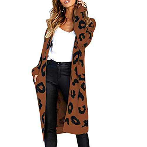 kaimimei Leopard Print Cardigan for Women Open Front Knit Maxi Sweater Long Sleeves Outwear Long Casual Coat with Pockets Coffee