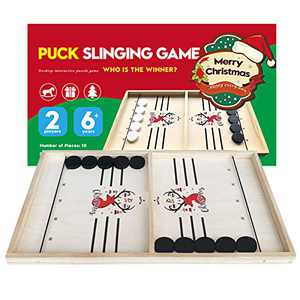 CABINAHOME Fast Sling Puck Game Desktop Battle 2 in 1 Ball air Hockey Game Super Winner Board Games Foosball Slingshot Table Game Wood Interactive Chess Toy for Kids Family (Christmas elk)
