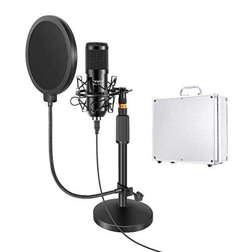 Neewer USB Microphone with Stand Kit: 192KHz/24Bit Plug&Play Cardioid PC Condenser Mic with Round Base Mic Stand, Pop Filter & Shock Mount for YouTube/Gaming Record/Podcasts (Carrying Case Included)