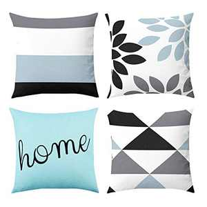 Fansteck Throw Pillow Covers, 18x18 Pillow Covers Set of 4, Modern Simple Style Soft Linen Cotton Fabric Square Decorative Throw Pillow Covers, Washable & Wearproof (Baby Blue)