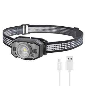 LED USB Rechargeable Headlamp LINGSFIRE Headlamp Flashlight Adjustable Camping Headlamp with 5 Lighting Modes Focus Memory Function Headlamp Waterproof for Camping Hiking Climbing Fishing Hunting