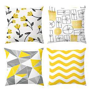 Fansteck Throw Pillow Covers, 18x18 Pillow Covers Set of 4, Modern Simple Style Soft Linen Cotton Fabric Square Decorative Throw Pillow Covers, Washable & Wearproof (Sunny Yellow)