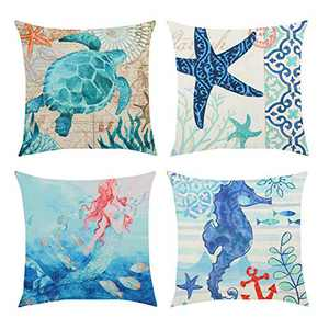 Fansteck Throw Pillow Covers, 18x18 Pillow Covers Set of 4, Modern Simple Style Soft Linen Cotton Fabric Square Decorative Throw Pillow Covers, Washable & Wearproof (Mysterious Ocean)