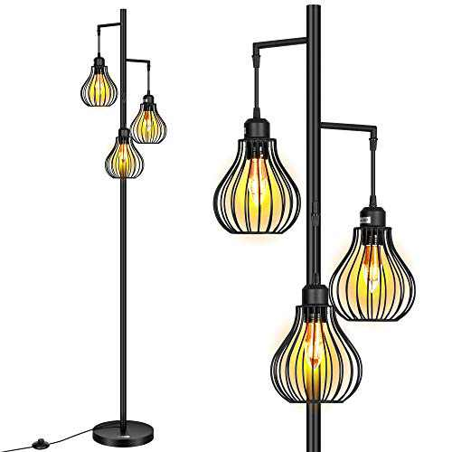 VIVOHOME 68 Inch Industrial Rustic Farmhouse Floor Lamp with 3 Elegant Cage Heads Standing Tree Lamp for Living Room, Bedroom and Office