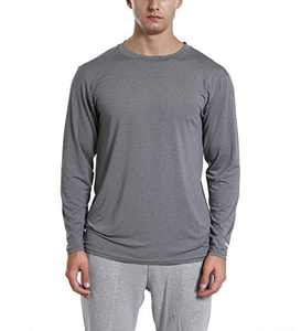 Men's Athletic Workout Shirts,Long Sleeve Quick Dry Performance Tees,Sun Protection UPF 50+ UV Shirt (Long Sleeve-Heather Charcoal, X-Large)