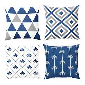 Fansteck Throw Pillow Covers, 18x18 Pillow Covers Set of 4, Modern Simple Style Soft Polyester Fabric Square Decorative Throw Pillow Covers, Washable & Wearproof (Sapphire Blue)