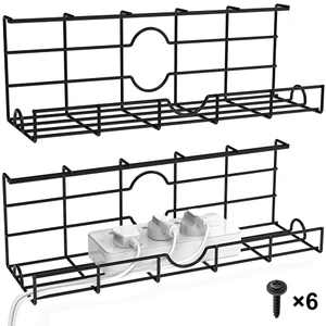 Bextsrack 2 Pack Under Desk Cable Management Tray, Cable Organizer for Wire Management, Metal Wire Cable Tray for Office and Home - 16 Inch, Black