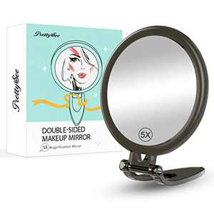 "PRETTY SEE Makeup Mirror Double Sided Mirror Folding Standing Handheld Cosmetic Mirror for Daily Makeup 1X/5x Magnification Portable Vanity Table Mirror. (6"", Black)"