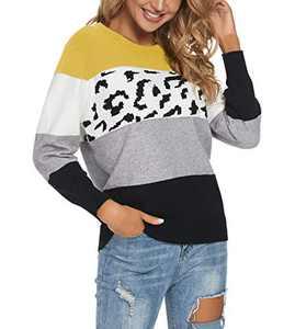 UEU Women's Winter Fall Long Sleeve Leopard Print Knitted Sweater Color Block Pullover Tops, Mustardyellow, L