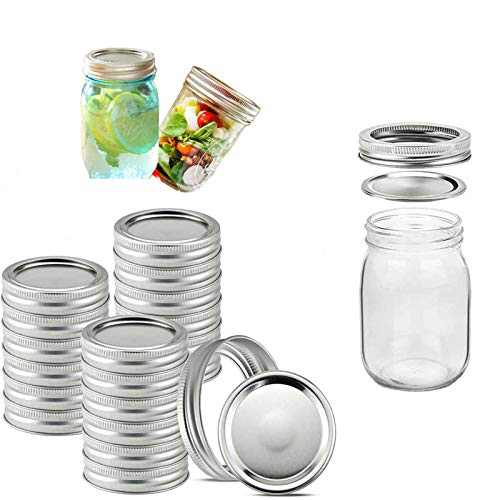 20 Sets Wide Mouth Mason Canning Lids with Bands Reusable Split-Type Lids Leak Proof and Secure Canning Jar Caps (86mm 20 Lids and 20 Bands)