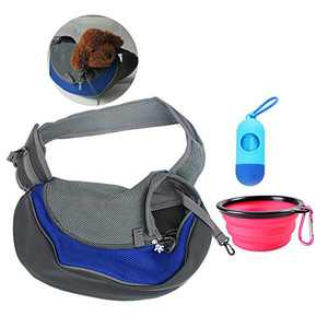 CLOVOCK Pet Sling Carrier Blue- Soft Mesh Hands-Free Sling Bag Head Out for Puppy Cat Rabbit Guinea Pig- Single Shoulder Carrier Pet Travel Carrier Pouch- for Pets up to 5-10lbs (L)