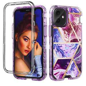 GDTOGRT Compatible with iPhone 12 Case, iPhone12 Pro Case, Marble Full Body Protective Dual Layer Heavy Duty Protection Hard Back Soft TPU Shockproof Case Cover -Purple