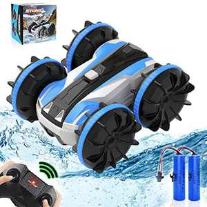 RC Car Amphibious Remote Control Car, 4WD Off Road Monster Car 2.4 GHz RC Stunt Car with 2 Rechargeable Battery Double Sided 360° Rotating Land Water 2 in 1 Waterproof Remote Car for Kids, Blue