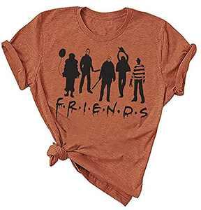 Women Friends Horror Halloween T-Shirt Michael Myers Jason Horror Scary Movies Gift Tee Shirt for (Orange, L)