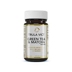 TRULA VICT, Matcha & Green Tea Capsule, 500mg 60 Pills. (Non-GMO, Gluten-Free)- Healthy Metabolism, Fat-Burning, Powerful Antioxidant