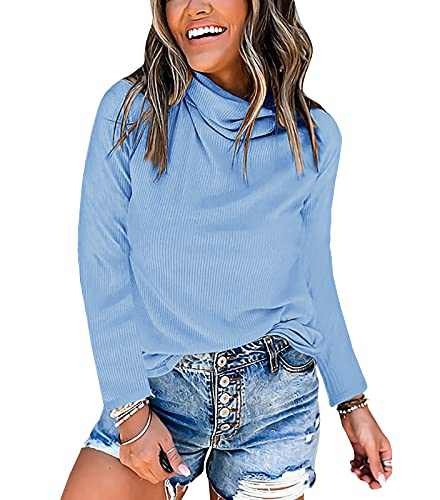 Jeanewpole1 Womens Cowl Neck Long Sleeve Knit Top Fall Plain Soft Shirt with Mask (Large, Blue)