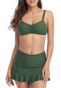 Charmo Womens High Waisted Bikini Swimsuits Wireless Bra Swimsuits Ruffle Swim Skirt M Dark Green
