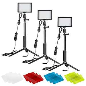 Neewer Video Conference Light Kit, 3-Pack Dimmable 5600K USB LED Video Lights with Tripods, Extension Rods and Color Filters for Zoom Calls, Remote Working, YouTube, Live Streaming