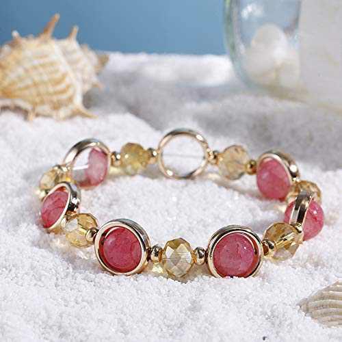 Natural Fuchsia Agate Jade Bracelet Crystal Womens Beaded Bracelet Gift for Her