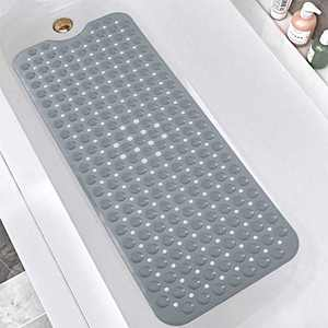 "DEXI Bath Tub Shower Mat, Non-Slip Bathtub Mats with Suction Cups, Drain Holes, Machine Washable Bathroom Mat, Grey, 16"" x 39"""