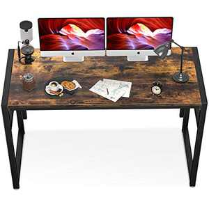 "Geniusidea Industrial Style Folding Computer Desk, 39.4"" Thickened Writing Desk for Home Office, No Tools Desk with Sturdy Black Metal Base, Oak Woodgrain Finish"