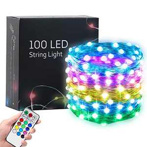 Hrabn Fairy Lights 32.8FT USB Led Lights Dream Christmas Lights Upgraded 100 LEDs Larger RGB Bulb Brighter Color Changing with 12 Modes for Christmas Bedroom Home Wedding Party Decoration