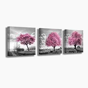 Pink Tree Canvas Farmhouse Wall Decor Rustic Country Wall Decoration Black White Picture Framed Artwork Wall Art for Living Room Bedroom Bathroom Office Wall Decor 14x14 inches Each Panels