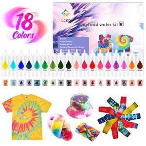 WATSABRO DIY Fabric Dyestuff Kits for Kids,18 Colors Pastel Dyestuff kit Fabric Dyestuff kit Refills Packets Fabric DIY Fashion Dyestuff kit for Adults Clothes Large Groups