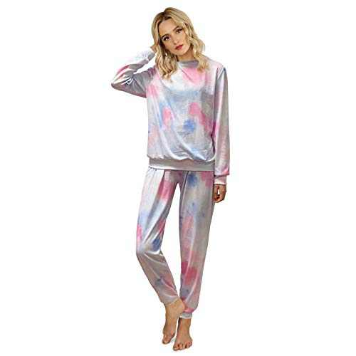 ROSASSY Women's Long Sleeve Tie Dye Pajamas Set Soft Sleepwear Two Piece Pjs with Pockets