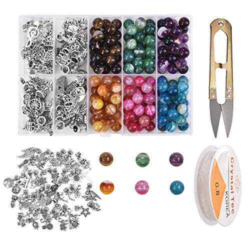LANBEIDE Stone Beads Tool Box Set Kits, 150Pcs Natural Stone Beads 8mm with 50Pcs Antique Silver Bighole Charms, Scissors and 1 Roll Beading Elastic String for DIY Bracelet Jewelry Making