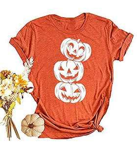 I Can't Smell Children T-Shirt Funny Halloween Sanderson Sister Mask Graphic Letter Print Shirt (Orange-01, Large)