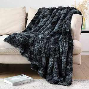 "Lvylov Decorative Soft Fluffy Faux Fur Throw Blanket 50"" x 60"",Reversible Long Shaggy Cozy Furry Blanket,Comfy Microfiber Accent Plush Fuzzy Blanket for Sofa/Couch/Bed,Breathable & Washable,Black Gray"