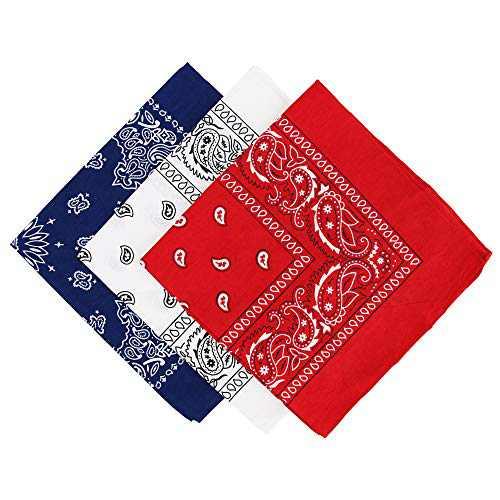 Paisley Bandanas Cotton Headband Head & Face Wrap Scarf Navy White Red