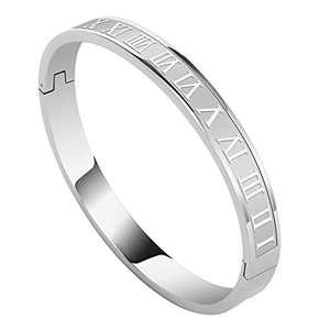 Roman Numeral Bangle Bracelet for Women Men White Gold Bracelet Classic Stainless Steel Jewelry Personalized Engraved Gift for Couples Boyfriend Girlfriend Friendship Unisex, Silver